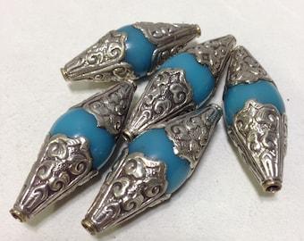 Beads Tibetan Turquoise Resin Silver Beads 60mm