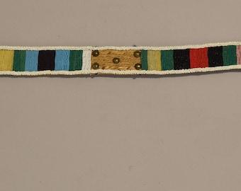 African Zulu Old Belt Woven Grass Beaded Brass Studded Identify Zulu Womens Belt
