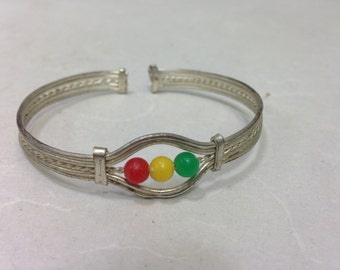 African Bracelet Silver Small Beaded Cuff Colorful Bracelet