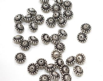 Beads Silver Etched Pumpkin Fluted Beads 9-10mm