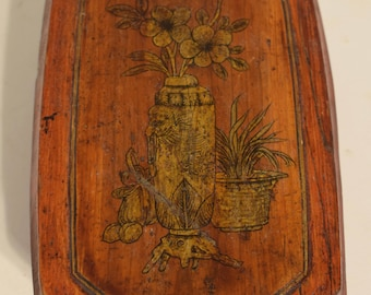 Chinese Antique Painted Lacquered Wood Box Gloves Jewelry Box Storage