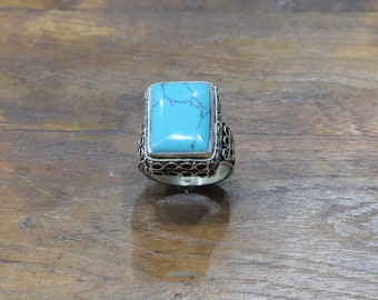 Rings Afghanistan Square Turquoise Ring 22mm