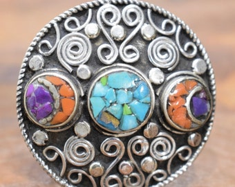 Ring Tibetan Coral Turquoise Silver Inlaid Ring