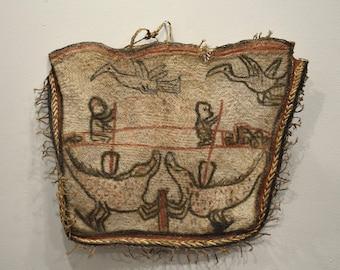 Papua New Guinea Asmat Fiber Clan Drawn Figures Natural Fiber Bag