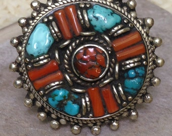 Ring Tibetan Coral Turquoise Silver Ring