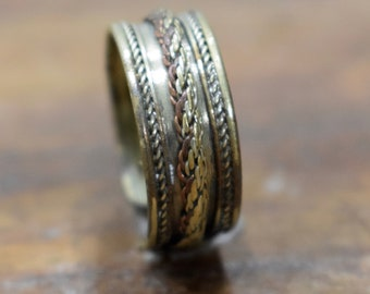Ring Silver Tibetan Copper Brass Wire Band Ring
