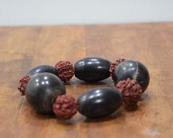 Bracelet Black Horn Rushska Nut Bead Stretch Bracelet