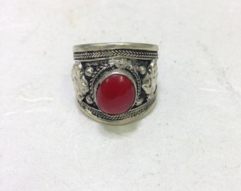 Ring Silver Tibetan Coral Carnelian Silver Ring