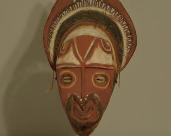 "Papua New Guinea Mask Red Balsa Wood Abelam Harvest Yam Mask 17"""