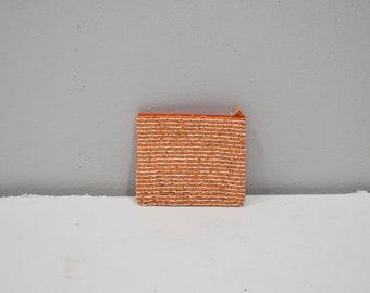 Purse Beaded Orange White Stripe Small  Purse