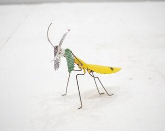 African Folk Art Toy Praying Mantis Recycled Tin Can Praying Mantis Tanzania Toy Praying Mantis