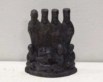 African Statue Nativity Relief Ebony Wood Christmas Nativity Tanzania