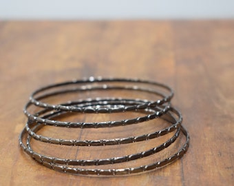 Bracelet 5 Silver Band Bangle Textured Bracelet