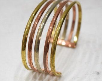 Bracelet 5 Band Copper Brass Silver Cuff Bracelet