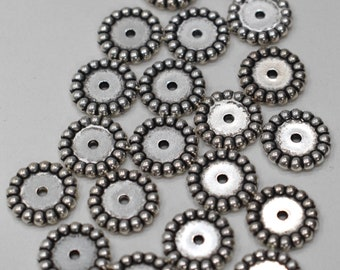 Beads Silver Round Fluted Disc Beads 16mm