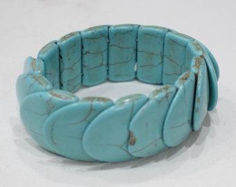 Bracelets Overlapped Turquoise Stone Elastic Stretch Bracelet