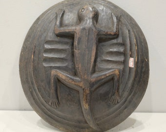 Philippines Bowl Lid Lizard Carved Ifugao Lid Bowl
