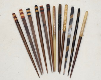 Hair Sticks Indonesian Assorted Inlaid Wood and Shell Hair Sticks