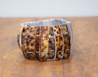 Bracelet Natural Cowrie Tiger Shell Stretch Bracelet