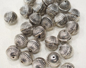 Beads Silver Grooved Oval Beads 17-18mm
