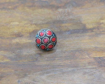 Rings India Brass Inlay Circle Red Ring