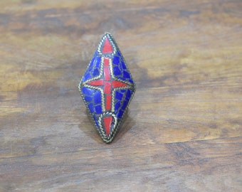 Rings India Brass Inlay Red  Blue Diamond Shape Ring