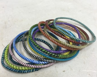 Bracelets African Telephone Plastic Wire Handmade Recycled Colorful Tribal Bracelets
