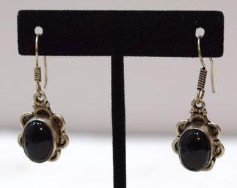 Earrings Sterling Silver Flower Black Onyx Stone 42mm