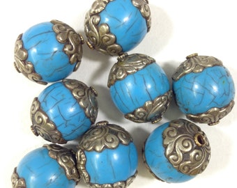 Beads Tibetan Silver Blue Resin Beads 34mm