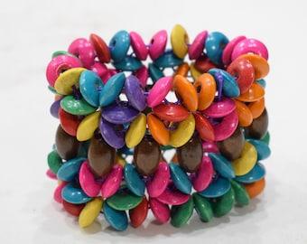 """Bracelet Assorted Colored Wood Stretch Bracelet 4"""""""