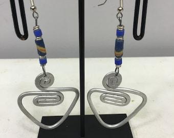 Earrings African Aluminum Blue Sandcast Masai Beaded Earrings Handmade Aluminum  Women Earrings Unique Tribal E5