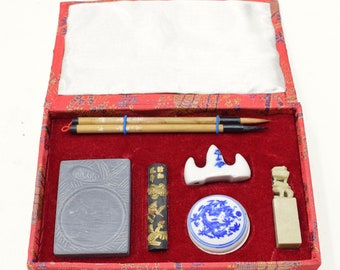 Chinese Calligraphy Set Brushes Ink  Stone Calligraphy Set
