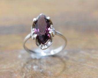 Ring Sterling Silver Amethyst Crystal Ring