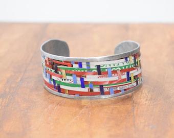 Bracelet Recycled Woven Tin Strip Medium Cuff Bracelet