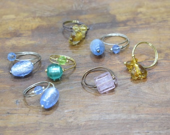 Ring Assorted Silver Leaf Glass Beads Adjustable Rings