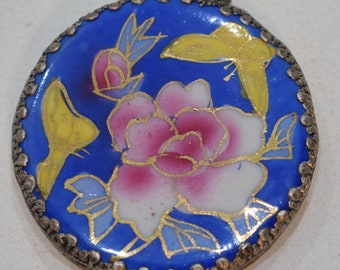 Beads Chinese Blue Flower Porcelain Chard Silver Vintage Pendant 56mm