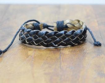 Bracelet Leather Black Woven Tie Bracelet