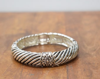 Bracelet Plated Silver Grooved Stretch Bangle Bracelet