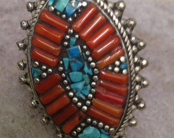 Ring Tibetan Silver Turquoise Coral Ring