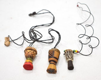 African Djembe Drum Necklaces Senegal