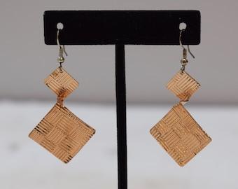Earrings Plated Copper Textured Triangle Dangle Earrings 55mm