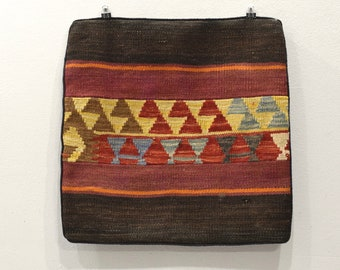 Pillowcase Kilim Rug Hand Stiched Rug Fragment Pillow Case