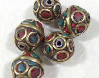 Beads Tibetan Turquoise Coral Brass Beads 12mm