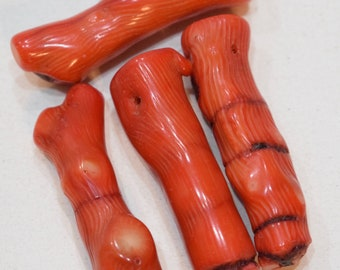 Beads Red Coral Long Branch Beads 42-50mm