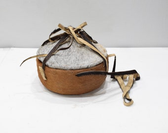 Basket African Ethiopian Gurage Goat Skin Coverd Lunch BoxAfrican Basket Gurage Ethopian Lunch Box Goat Skin Covered Grass Basket