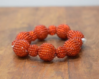 Bracelet Beaded Red Beaded Bead Elastic Bracelet