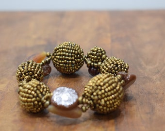 Bracelet Beaded Bronze Brown Glass Beaded Bead Elastic Bracelet