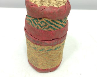 Continer Betel Nut Woven Grass Red Fabric Betel Nut Basket Indonesia Handmade Betel Nut Chewing Container Woven Grass Tobacco Snuff Unique