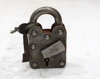 Lock & Key India Old Hand Fordged Metal Padlock Key
