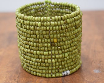 Bracelet Beaded Green Wide Wire Cuff Bracelet